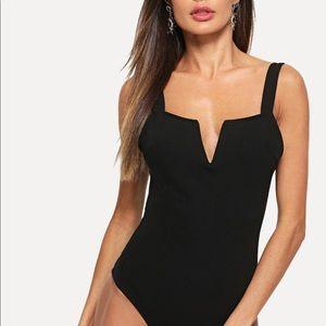 Black v cut front bodysuit